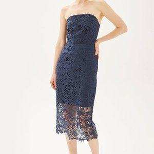 Topshop Blue Lace Strapless Dress
